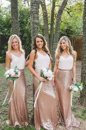 Wholesale Light Green Maxi Skirt - Cheap Country Rose Gold Sequins maxi skirts and strap white tops Bridesmaid Dresses V-Neck Sleeveless Two Pieces Dresses for Bridesmaid Long