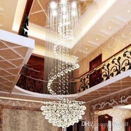 Wholesale Transparent Europe - Modern Led D40 D60 D80 D100cm K9 Clear Crystal Ceiling Light Lamp Chandeliers Penthouse Spiral Staircase Villa Living Room Lighting Fixtures
