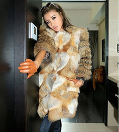 Wholesale Genuine Fox Fur Coat Jacket - New Genuine red fox Fur coat with Raccoon Fur sleeve Winter thick Fur jacket women long fox Free Shipping F673