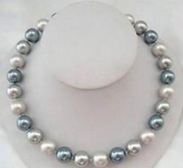 Горячее 10-11мм южное море серый черный Смешивание цвета оболочки жемчужина круглый жемчужное ожерелье 18 дюймов 925 серебряная застежка от