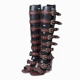 Wholesale Transparent Rivet High Heels - 2017 Summer Gladiator Sandals Women Transparent Super High Heels Shoes Boots Rivet Buckle Personal Ladies Leather Sandals
