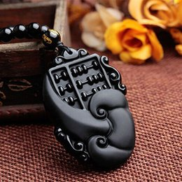 Wholesale Jade Good Luck Pendants - New Arrive Natural Jade Black Obsidian Hand Carved Chinese Buddha Lucky Amulet Good Luck Ruyi Fortune Pendant Fashion Jewelry