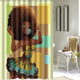 Wholesale Shower Curtains Polyester - Wholesale- Hot Sale 150x180cm Bathroom Big Hair African Woman Pattern Waterproof Polyester Bath Shower Curtain Bathroom Decor