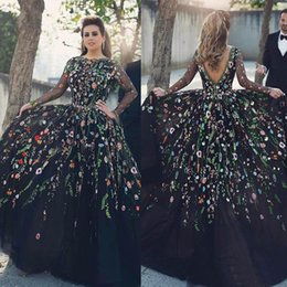 Wholesale Navy Blue Floral Prom Dress - Evening Dresses 2017 Long Sleeves Floral Embroidery Jewel Neck Plus Size Black Prom Party Dresses Formal Gown With Backless