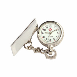 Wholesale Pocket Dial - Wholesale-Superior Unisex Arabic Metal Fibula Nurse White Dial Quartz Pocket Watch Gift Oct 19