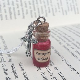 Wholesale American Halloween Decorations - 12pcs lot Vampire Blood Bottle Necklace Pendant Decoration inspired by Supernatural