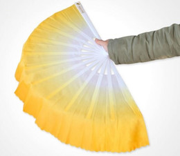 Wholesale Belly Dance Gifts - 50pcs lot Fashion Gradient color Chinese silk dance fan KungFu FAN Belly Dancing Fans For Wedding Party Gift Favor