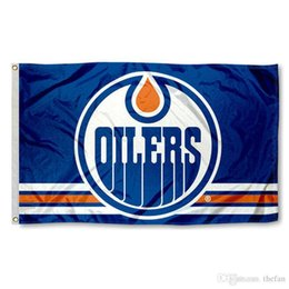 Wholesale Wholesale Team Flags - Edmonton Oilers Hockey Flag Hockey Team Flag Banners Win Champion Flags Polyester Banner Kids Birthday Party Decoration 3x5 Feet