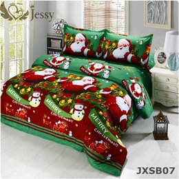 Wholesale Christmas Red Duvets - Wholesale-For Merry Christmas Christmas Gift Set 4Pcs Christmas Santa Clause 3D Bedding Set Duvet Cover Bed Sheet Pillowcase Sham Covers
