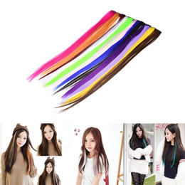 Wholesale Long Hairpieces For Women - Clip In Colored Hair Extensions for women clips decoration Synthetic Straight Long Hightlight color hairpiece one piece