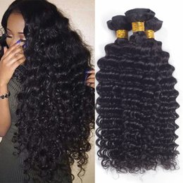 Wholesale Weave Curly Hair Extensions - 8A Unprocessed Brazilian virgin Bundles Deep Wave Curly Hair Weft Human Hair Peruvian Indian Malaysian Hair Extensions Dyeable free shipping