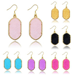 acrylic bezel Coupons - Fashion Gold Bezel Kendra Style Signature Earrings Fluorescent Geometry Diamond Statement Earrings Dangle Earrings For Women Lady 8 Colors