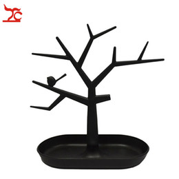 Wholesale Earring Ring Holder - 2016 New Arrival Gift Box White Plastic Tc Cosmetic Jewelry Necklace Ring Earrings Holder Rack Bird Tree Decoration Stand Display Organizer
