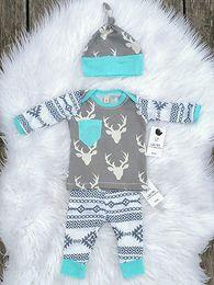 Wholesale Newborn Baby Leggings - Wholesale- Newborn Baby Girls Boy Deer Tops T-shirt Pants Leggings Hat 3pcs Outfits Set