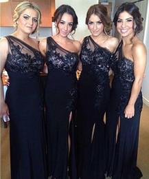 Wholesale Dresses Appiques - 2017 New Cheap One Shoulder Sheath Column Bridesmaid Dresses Split Front Lace Appiques Floor Length Bridesmaid Dresses Wedding Guests Wear