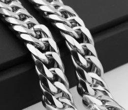 Wholesale Imitation Jewels - 24inch MEN 316L Fine Solid Real Stainless Steel WIDE 13mm Silver Cuban Curb Link Chain Necklace Heavy Jewels