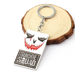 Wholesale Promotion Dog Tags - HSIC 10pcs lot Wholesale Hot Moive Suicide Squad Key Chain Smile Face Skull Logo Task Force Letters Dog Tag Metal Keychain