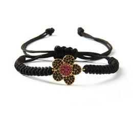belles fleurs noires Promotion Brand New Beau Cadeau Bijoux En Gros 10 pcs / lot Micro Pave Noir CZ Fleurs Macrame Bracelet Femelle Bracelet Bracelets Tressés