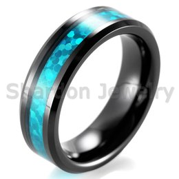 Wholesale Mens Ring Opal - SHARDON Black Ceramic Wedding Band with Beveled Edges and Blue Opal Pattern Inlay Mens Ceramic Ring 6mm 8mm