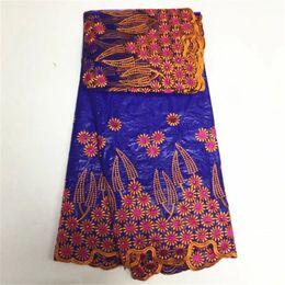 Wholesale Lace Fabric Dress Yard - High Quality African Jacquard Fabric Bazin Riche Getzner Guinea Fabric 5 Yards+2 Yards Net Lace For Nigerian Lace Fashion Dress