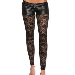 Wholesale Leggings Sellers - Wholesale- Best Sellers Fashion Womens Black Sexy Leggings Stretch Women Pants Low waist PU Faux Leather Footless punk pants Women Leggings