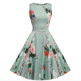 Wholesale Rockabilly Dress Plus Size - Party Cocktail Dress Vintage 1950s Floral Spring Garden 1940s 50s 60s Big Swing Rockabilly Plus Size Vintage Dresses For Party