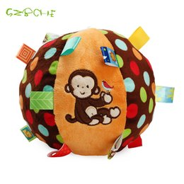 Wholesale Girls Hand Rings - Wholesale- Baby Fun Pumpy Ball Cute Plush Soft Cloth Hand Rattles Bell Training Grasping Ability Toy For Baby Boys Girls Ring Toys