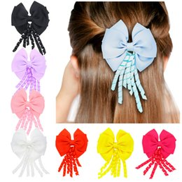 Wholesale Double Ribbon Bows - NEW STYLE JOJO double layer bow hair clip Tassel streamer duckbill clip hairpin Children headdress hair ornaments E147