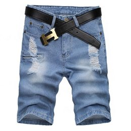 Wholesale Demin Jeans Short - Wholesale-Summer 2016 Indoor Trousers Fashion Hole Ripped Beggar Man Jeans Demin Fake Zippers Cargo Cowboy Slim Biker Shorts Homme 28-38