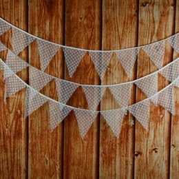 Wholesale Pennants Banner - Wholesale-12Flags 3.2m White Lace Cotton Fabric Bunting Pennant Flag Banner Garland Wedding Birthday Baby Show Party Decorative Accessory