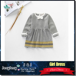 Wholesale Girls Formal Wear Wholesale - Embroidered Dress Girls Kids Children Party Gray Cotton Dresses Romper Formal Wear Outwear Costume Baby Soft Comfortable Cute Clothes