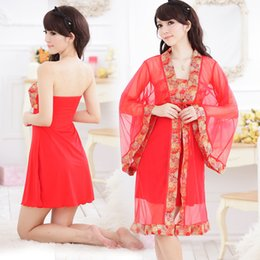 Wholesale Women Sleepwear Dress For Summer - Wholesale- 2017 summer plus kimono robe sleepwear bride robe chinese kimono dressing gowns for women home bridesmaid robe