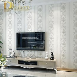 light grey rooms Promo Codes - Wholesale-Modern Luxury Homes Decor European Striped Damask Wallpaper For Walls Bedroom Living room Embossed Grey Beige Wall paper Rolls