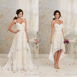 Wholesale Detachable Train Skirt Gowns - 2017 Short High Low Wedding Dresses with Detachable Skirt A Line Vintage Bridal Gowns Spaghetti Straps Champagne Ivory White Crystals Sash