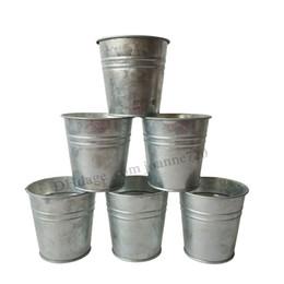 Wholesale Tin Plant Pot Wholesale - 8*8CM Free Shipping Wholesale Pure Galvanized Plant pot tin box flower pots planters Balcony Small Nursery pot