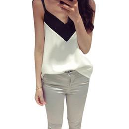 blusa sin mangas caliente Rebajas Nuevo 2016 Hot Fashion Ladies Ladies Summer Sleeveless Blusa Chaleco Top Casual Negro Blanco Calle Tank Tops Sexy Camis Camisetas Z1