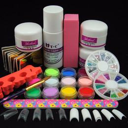 Wholesale Colored Tips Acrylic Nails - Tools Sets Kits New Colored Acrylic Powder Nail Manicure Kit Liquid 75ml Nail Art False Tips Form File For Fake Nail