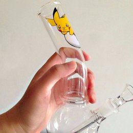 Wholesale Custom Bongs - Glass Bongs Dab Rig Bong Picachu Image Removable Deffused Glass Water Pipe Oil Dabber with 14.4MM Joint Custom Made