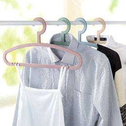 Wholesale Skidproof Clothes - Creative Plastic Clothes Hanger Skidproof Dress Rack Wardrobe Storage Hanger For Pants Coat High Quality 30pcs