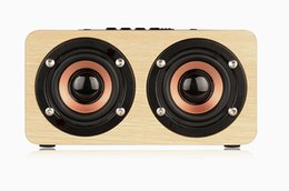 Wholesale wooden wireless speakers - W5 Wood Boombox Wooden Box Wireless Bluetooth Speaker 10W High Power Subwoofer 2000mAh Battery Support TF Card AUX Cable