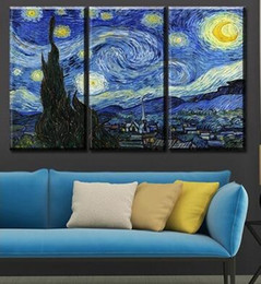 Wholesale Abstract Art Prints Canvas - Art craft 3 PCS of van gogh's starry night canvas printing modern mural painting big canvas art space