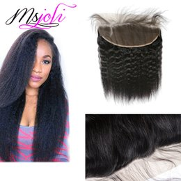 Wholesale Kinky Prices Brazilian Hair - Human hair Brazilian virgin hair Lace frontals kinky straight ear to ear closure 13x4 with baby hair free part cheap price top quality