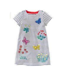 Wholesale Girl Strips Dress - Girls Kids 100%Cotton short Sleeve stripped print dress causal spring autumn girls dresses 2646