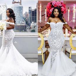 Wholesale Sexy Mermaid Lace Skirt Dress - 2017 Luxurious Lace Arabic Plus Size Wedding Dresses Sweetheart Beaded Mermaid Illusion Bridal Dresses Sexy Vintage Wedding Gowns Custom