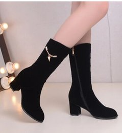 Wholesale Demin Women - New Arrival Hot Sale Specials Super Fashion Martin Roman Suede Female Large Size Leisure Cool Knight Metal Chain Bride Wedding Boots EU34-43