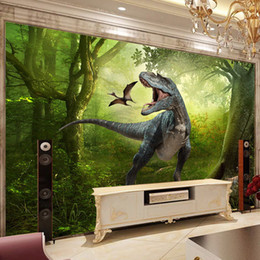 Wholesale Fantasy Bedroom - 3D stereoscopic dinosaur fantasy mural murals sofa backdrop wallpaper for kids room Living room backdrop TV background wallpaper