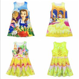 Wholesale Velvet Bow Clothes - New baby girls Beauty and the beast vest dress cartoon Children printing sleeveless Princess dresses Kids Clothing Girls Belle Dresses