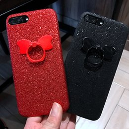 Wholesale Bow Phone Cases - for Iphone 6 6s 7 plus Korea Pretty Luxury Cute Bow Finger Ring Soft Glitter phone case cover