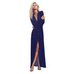 1ec6a381147 Wholesale- Sexy Women V Neck Long Sleeve Split Button Long Cardigan Blouse  Shirt Beach Maxi Dress Deep Blue
