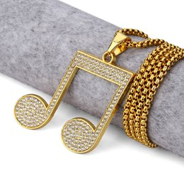 Wholesale Musical Note Necklace Silver - Mens Women Golden bling Musical Note Rhinestone Necklaces Pendants Antique Jewelry Gifts Rappers Crystal Music Symbol Chains
